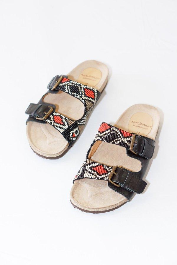 bf999d00d56d5 Maliparmi Hand Beaded Infrabijoux Leather Slide Sandals
