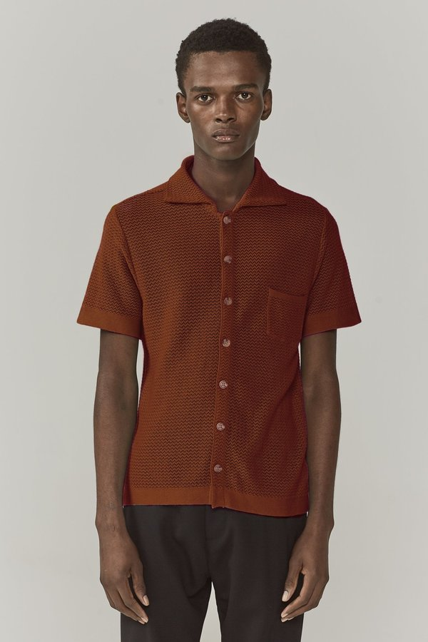 dae38b0b7d CMMN SWDN Wes Knitted Shirt - Burnt Umber | Garmentory