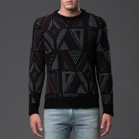 Deveaux Chenille Jacquard Crewneck Sweater