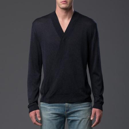Deveaux Long Sleeve Wrap Cardigan - Navy
