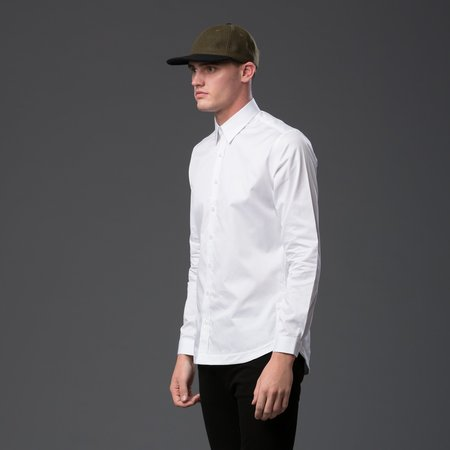 Carlos Campos Pleated Tail Button Down Shirt - White