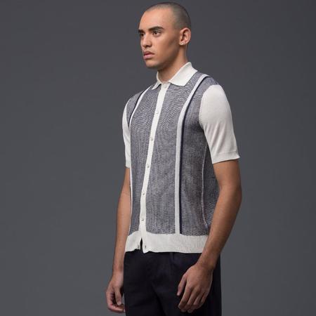 Deveaux Silk Resort Shirt - White/Navy