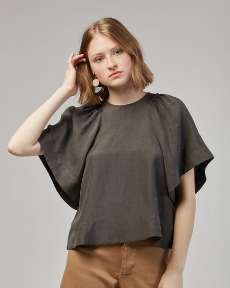 Rachel Comey Ravine Silk Linen Top In Charcoal