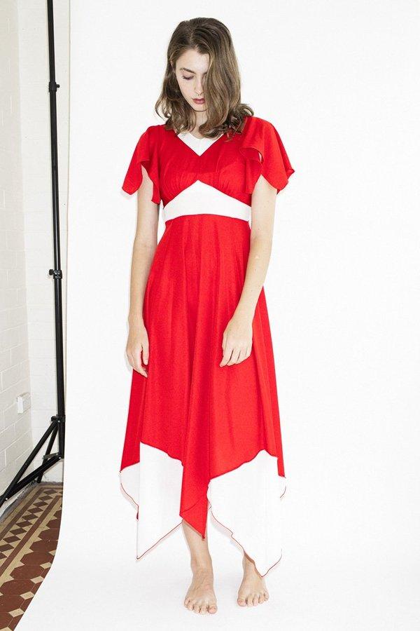Vintage Red Flag Dress - Red
