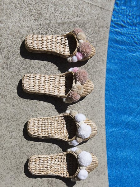 Folk Fortune Pom Pom Slippers