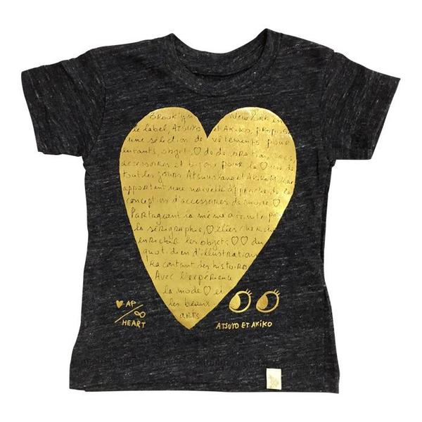 Kids Atsuyo et Akiko Eco Le Heart Black and Gold Pressed Foil T-Shirt - Heather