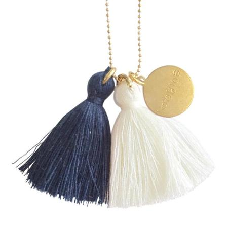 """Atsuyo Et Akiko Imagine Jewellery Necklace 22"""" Gold Filled Chain - Blue and Ivory"""