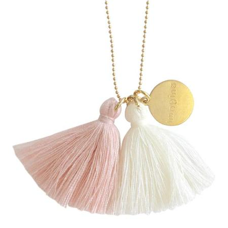 """Atsuyo Et Akiko Imagine Jewellery Necklace 22"""" Gold Filled Chain - Ivory and Pink"""
