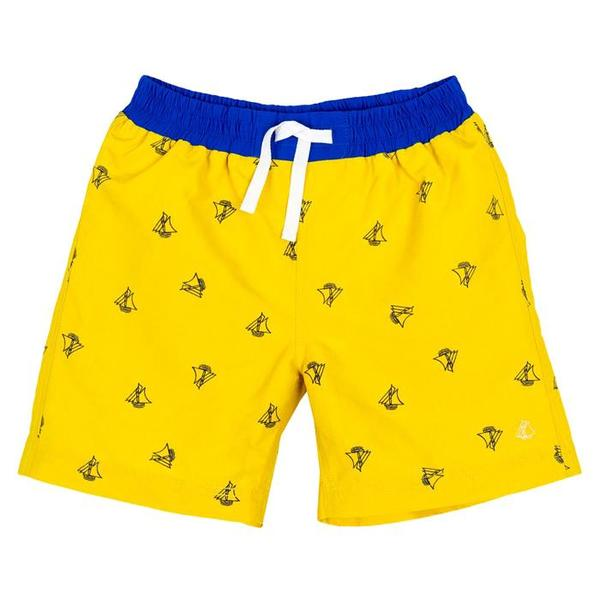 095d4bbad5 KIDS Petit Bateau Swim Short - Yellow/Navy Sailboat Print | Garmentory
