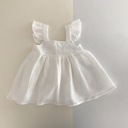 kids Liilu Pinafore Dress - white