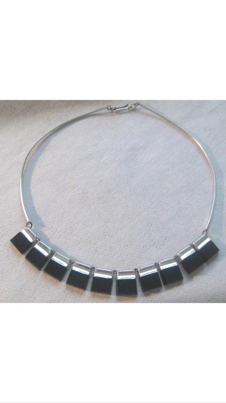 Vintage KC Silver and Onyx Necklace