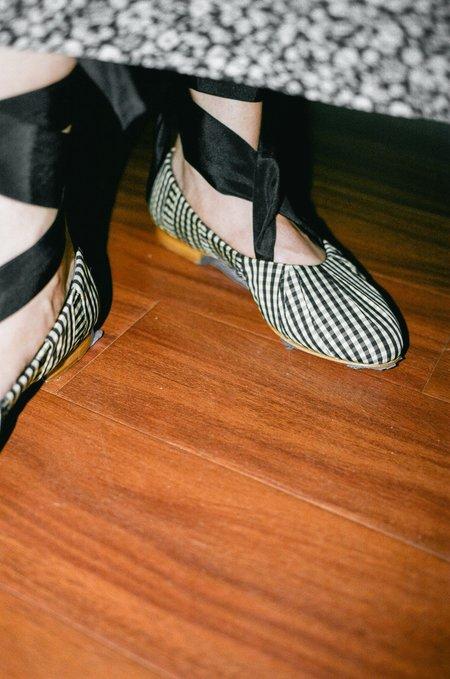 Trademark Sylvie Gingham Ballet Flat - Black/Cream