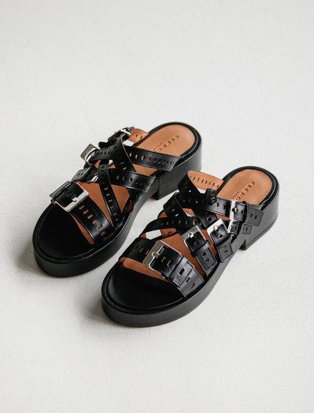 Robert Clergerie Fantom Buckle Sandal - Black