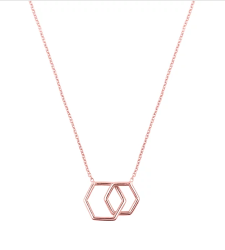Hortense Together Hexagon Necklace - ROSE GOLD