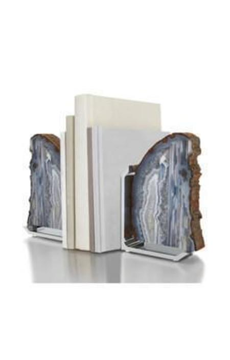 ANNA New York Fim Bookends - Natural Agate/Silver