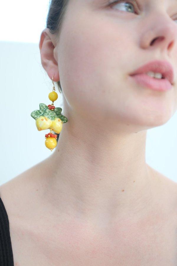 Beklina Italian Hand Painted Ceramic Earrings - Lemons