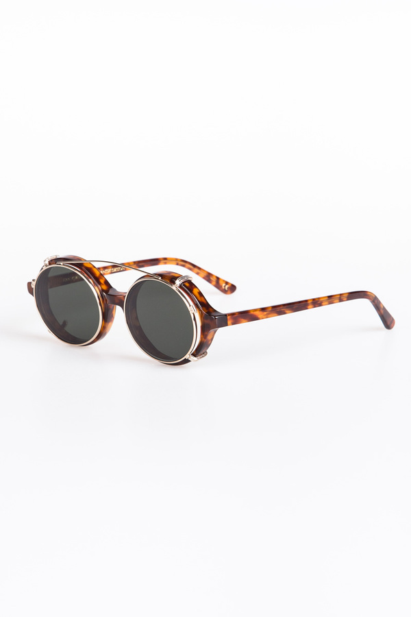 0680422415 Han Kjobenhavn Doc Clip-On Sunglasses - Amber