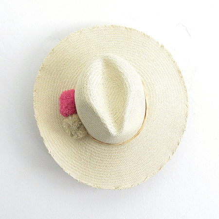 Hat Attack Cuppajyo Fringe Raffia Pom Hat - Pink