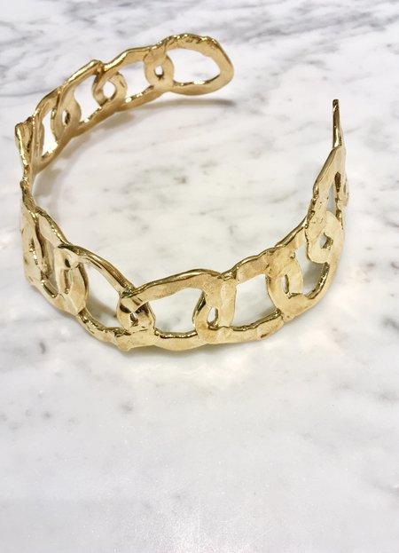 ALI GRACE Organic Sculpted Link Collar - BRASS