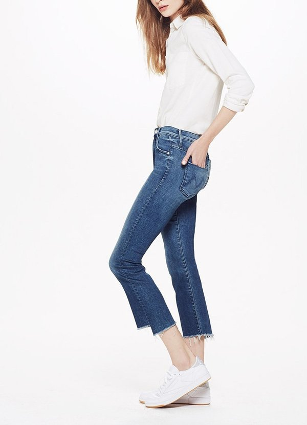 classic style online for sale authentic quality Mother Denim Insider Crop Step Fray - Crack The Whip on Garmentory
