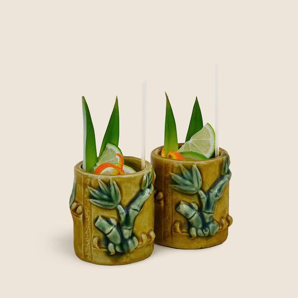 THE TABU SHOP VINTAGE SET OF 2 BAMBOO TIKI CUPS