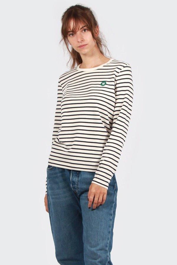 9739abf4fdc Wood Wood Moa Long Sleeve T-Shirt - off white/navy stripe | Garmentory