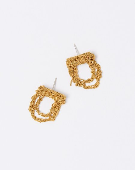 Arielle De Pinto Blackwork Earrings - Gold