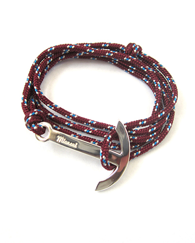 Miansai Modern Silver Anchor And Burgundy Rope Wrap Bracelet