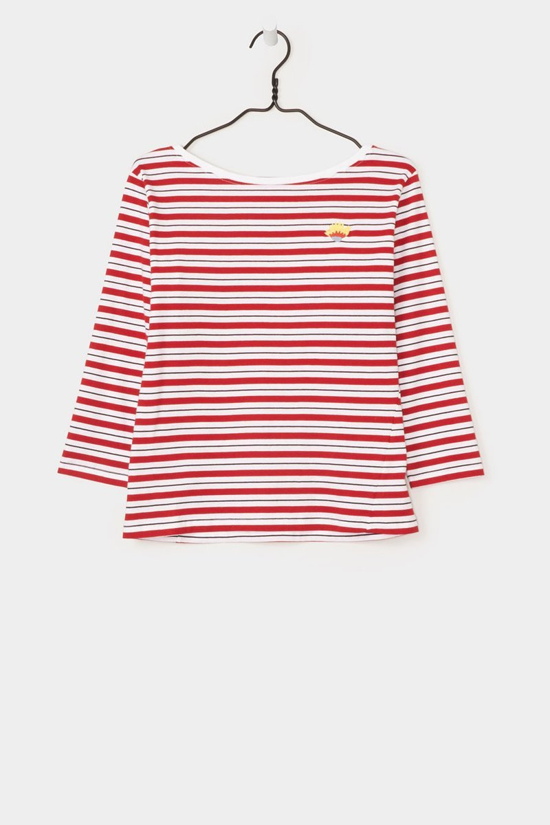 Kowtow Building Block Boat Neck Top Red Stripe Garmentory