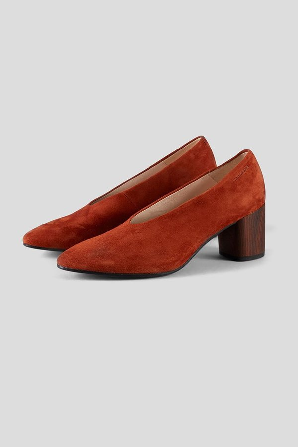 Vagabond deep red leather heeled pumps with wooden heel   ASOS