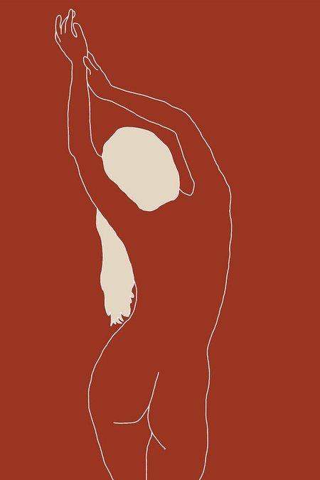Drawn By Cave Stephanie Print - Sienna/Cream