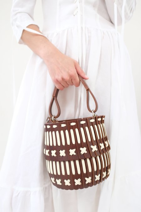 Hatori Basket Bucket Bag - Brown/Cream