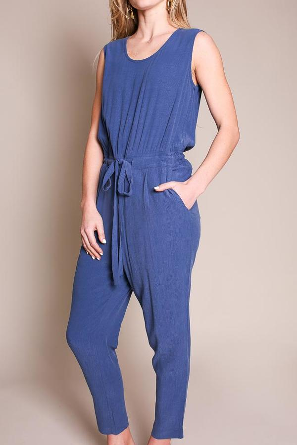 7115 by Szeki Sleeveless Drawstring Jumpsuit
