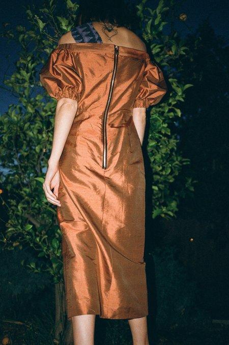 Maki Oh Two Tone Silk Shantung Puff Sleeve Dress