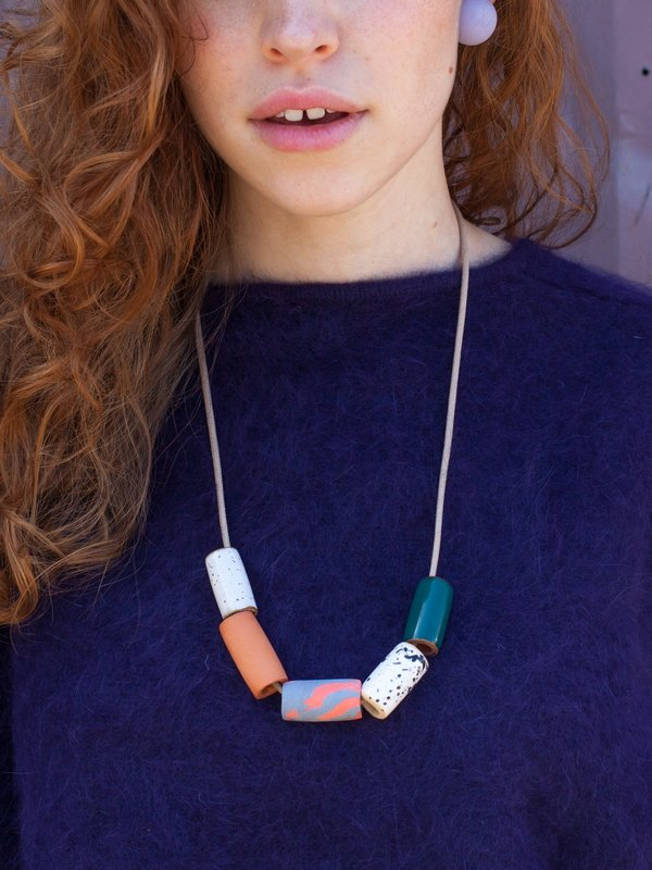 Blue bead ceramic necklace Blue suede cord. Blue big ceramic bead