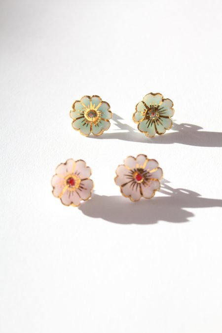 Beklina Porcelain Cherry Blossom Stud Earrings