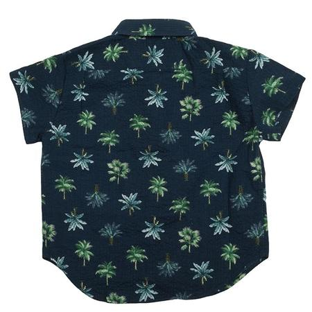 Kids Hopper Hunter by 18 Waits Short Sleeved Hopper Shirt - Navy Palms Seersucker