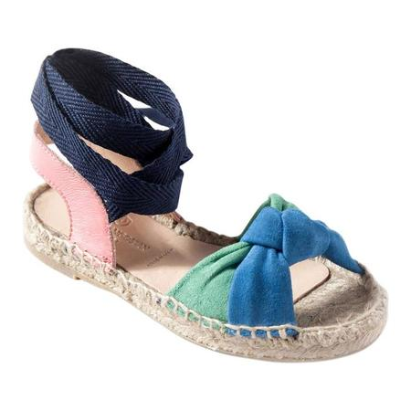KIDS Maison Mangostan Papaya Sandal - Bicolour Knotted Suede with Pink Leather