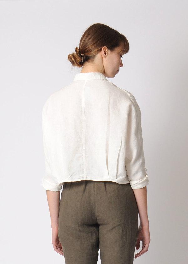 7115 by Szeki Signature 3/4 Cropped Shirt Jacket   Linen