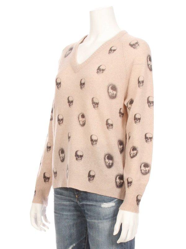 df98b462e498 360 Cashmere Riley V-Neck Skull Cashmere Sweater