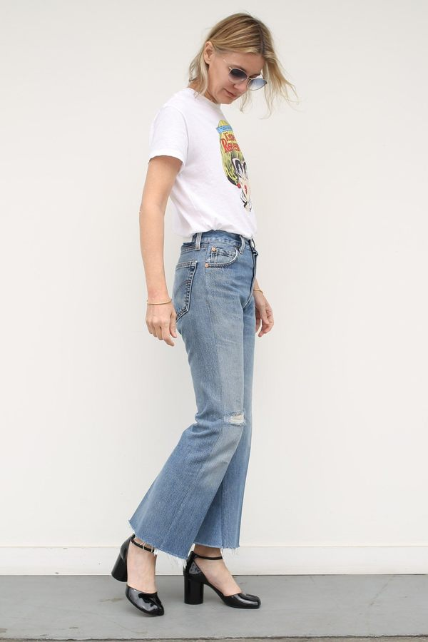 c7cddaa5ccccc RE DONE High Rise Ankle Crop Flare - Indigo