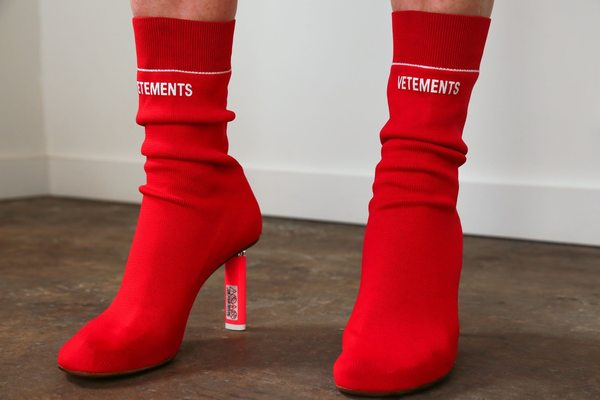 Vetements Sock Ankle Boot - Red