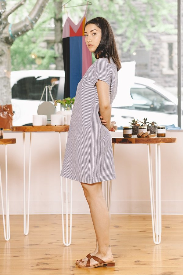 89b27c5413 Jenni Kayne Linen T-Shirt Dress - Navy White. sold out