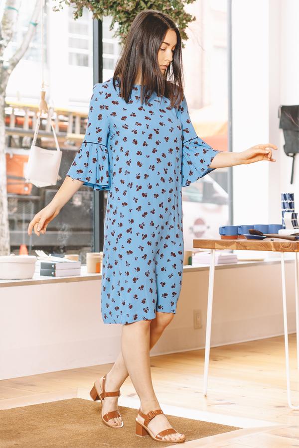 0756797f Ganni Roseburg Crepe Dress - Marina | Garmentory