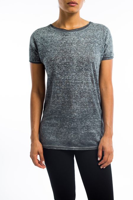 Avant Toi studded linen t-shirt - Delfino Gray