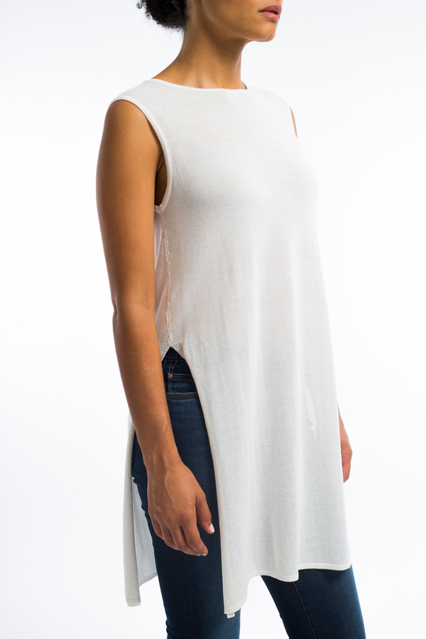 8d0193b55f Sarah Pacini sleeveless cotton tunic top- white