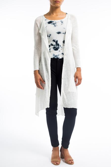 Transit long linen asymmetric button front cardigan - white