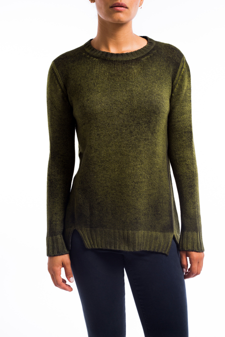 Avant Toi cashmere boatneck split vent sweater - acid yellow