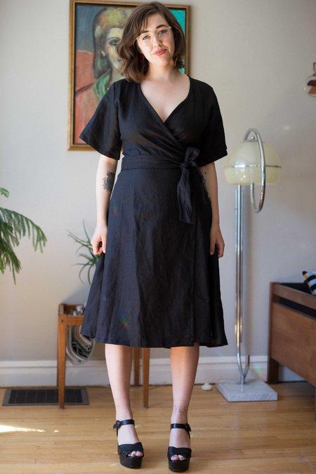 June Isle Laurel Wrap Dress - Black