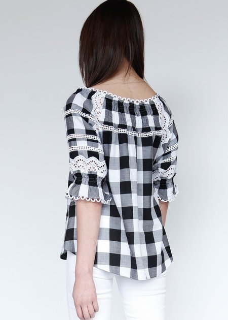 Marissa Webb Amalia Buffalo Plaid Blouse - Checker